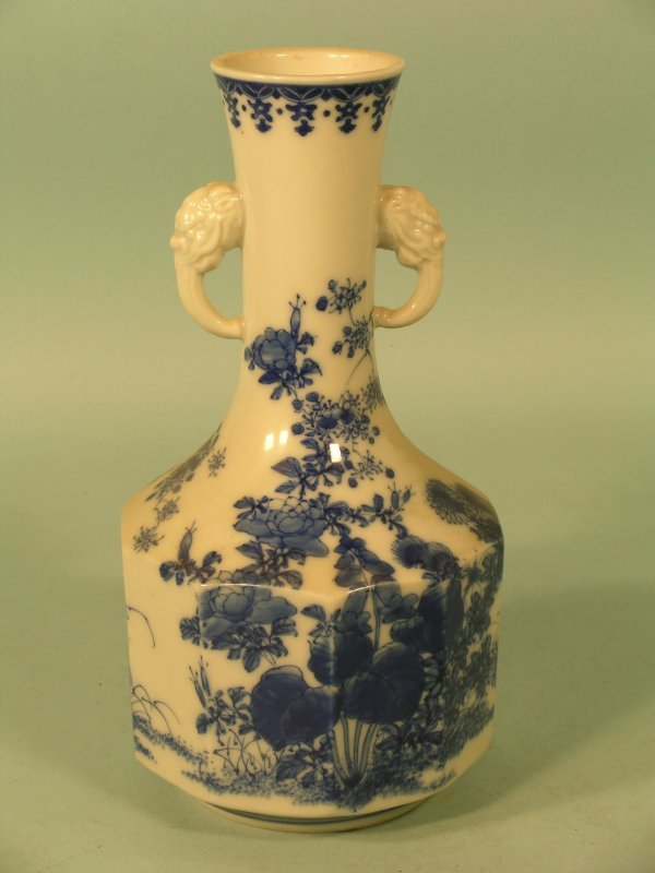 14E: A Japanese blue and white two handled vase, early