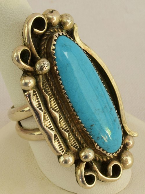 Native American Sterling Silver Natural Turquoise Ring - 2