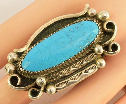 Native American Sterling Silver Natural Turquoise Ring - 3