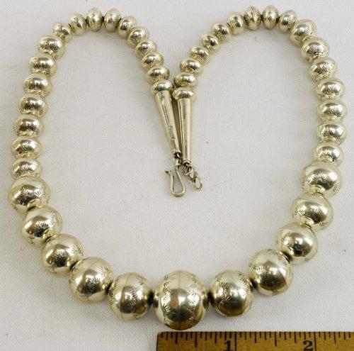 Native American Sterling Silver Navajo Pearls Necklace - 5