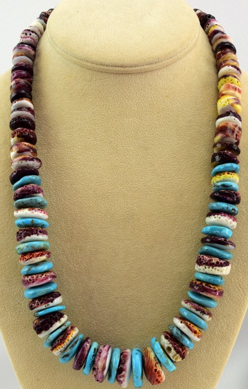 Native American Turquoise & Spiny Oyster Bead Necklace