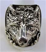 Native American Sterling Silver Wolf Head Ring