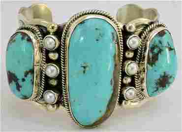 Navajo Turquois Sterling Silver Large 3 Stone Cuff