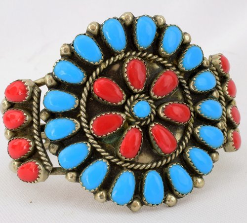 Old Pawn Navajo Sterling Turquoise & Coral Bracelet