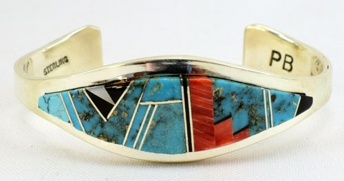 Navajo Sterling Silver Multi-Stone Inlay Cuff Bracelet