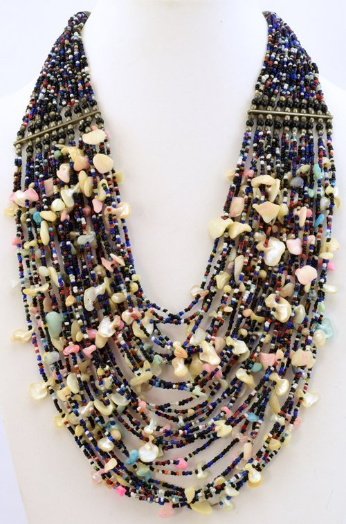 Native American Old Pawn Shell & Bead 28 Stand Necklace