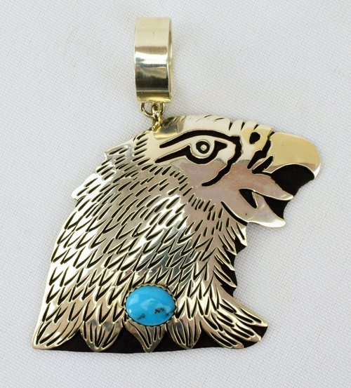 Navajo Sterling Silver Eagle Pendant by T & R Singer