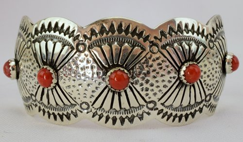 Native American Concho Style Cuff with Coral Accents