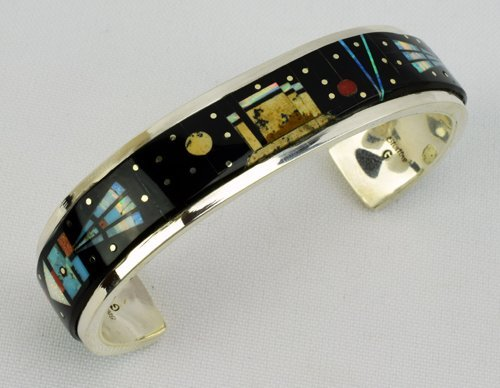 Sterling Navajo  Inlay Cuff Bracelet by Gilbert Smith