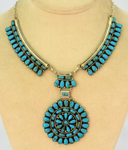 Navajo Sterling Ceremonial Cluster Turquoise Necklace