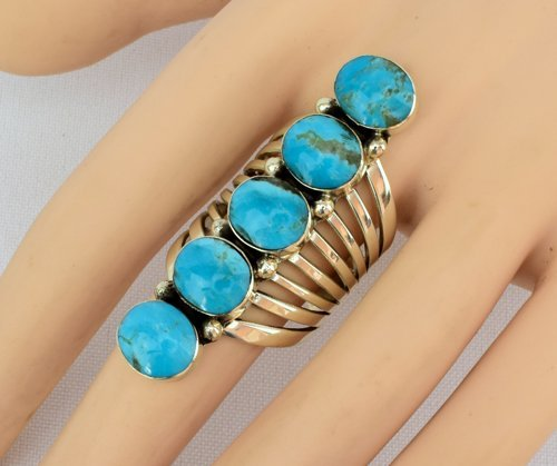 Turquoise Sterling Silver Navajo 5 Stone Ring