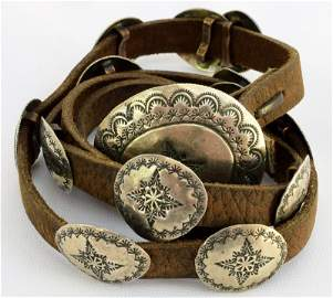 Old Pawn Native American Sterling Silver Concho Belt