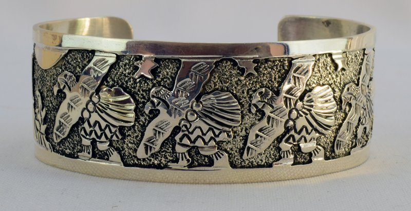 Sterling Navajo Storyteller Cuff Bracelet - Becenti