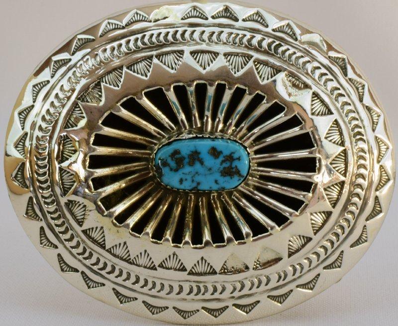 Native American Sterling Silver Belt Buckle w/turq.