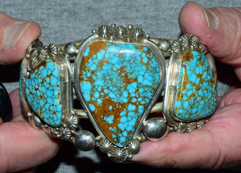 Navajo Humongous Sterling 5 Stone No. 8 Turquoise Cuff