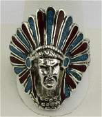 Navajo Sterling Silver Indian Chief Ring