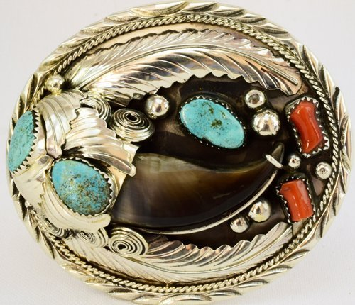 Navajo Sterling Bear Claw Belt Buckle-Elaine Sam
