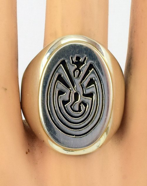 Hopi Sterling Silver Man in a Maze Ring