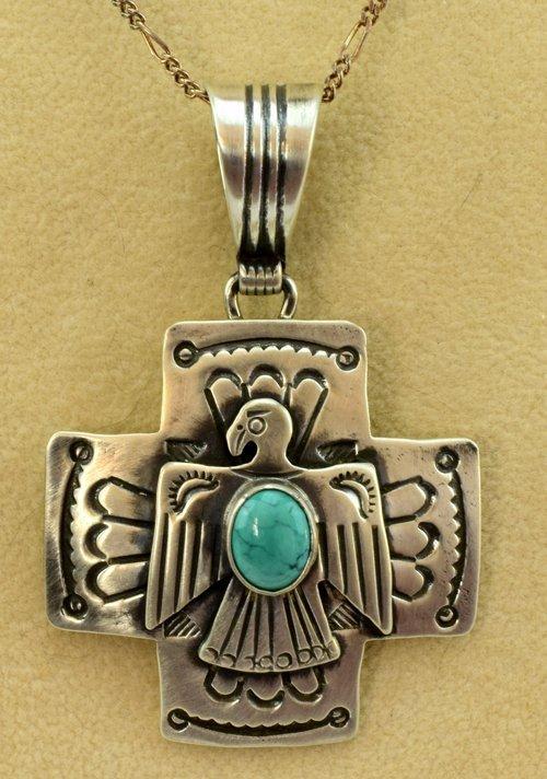 Navajo Sterling Silver Thunderbird Pendant