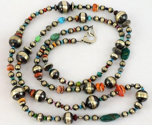 Native American Navajo Pearls & Multi-Stone Neklace