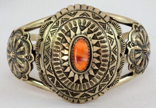 Navajo Sterling Silver Concho Cuff Bracelet - R. Shakey