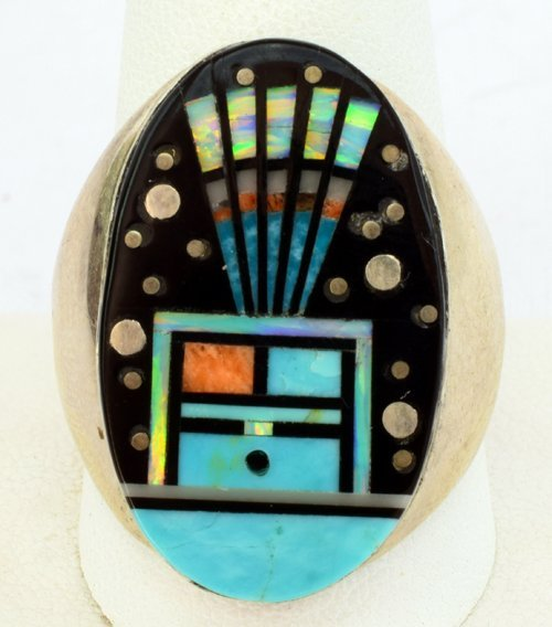 Men's Navajo Inlay Jet Ring by Gilbert Smith