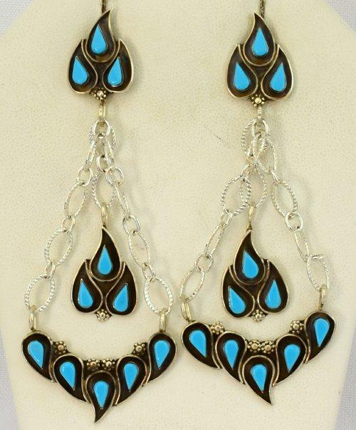 Zuni Turquoise Sterling Silver Dangle Earrings