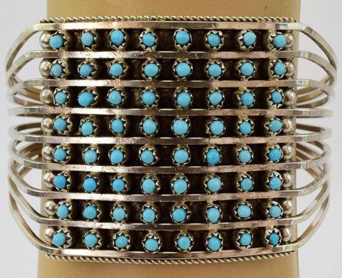 Zuni Sterling Silver Turquoise 8 Row Snake Eye Cuff
