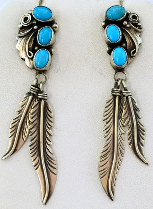 Native American Sterling Silver Feather Dangle Earrings