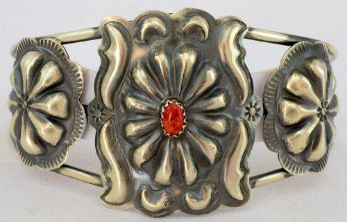 Navajo Sterling Silver Repousse Concho Bracelet