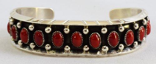 Sterling Silver Navajo Coral Cuff Bracelet