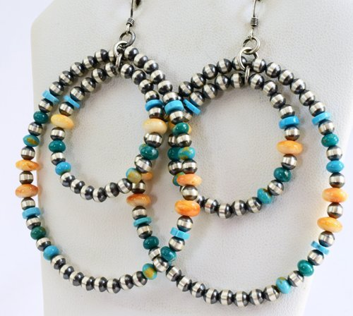 Sterling Navajo Pearl Earrings-Turquoise & Spiny