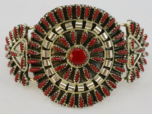 Native American Sterling Coral Needlepoint Cuff Bracele