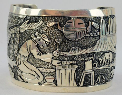 Navajo Sterling Storyteller Cuff Bracelet - Becenti