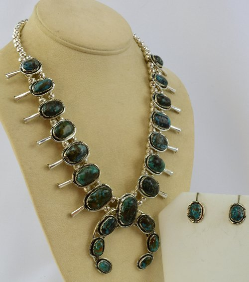 Navajo Sterling Squash Blossom Necklace-Nevada Green