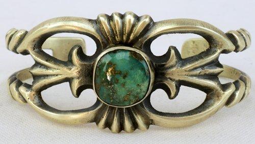 Navajo Sterling Sand Cast Bracelet w/Turquoise