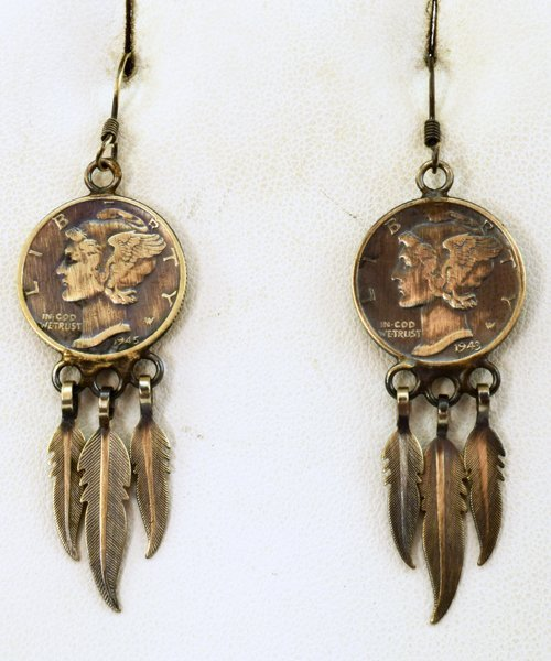 Native American Mercury Dime Earrings w/Dangles