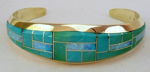 Zuni Sterling Silver Turquoise and Opal Inlay Bracelet
