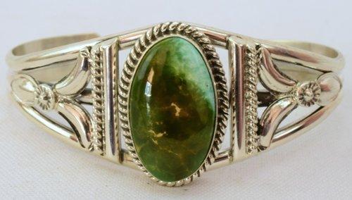 Navajo Stunning Sterling SilverTurquoise Cuff Bracelet