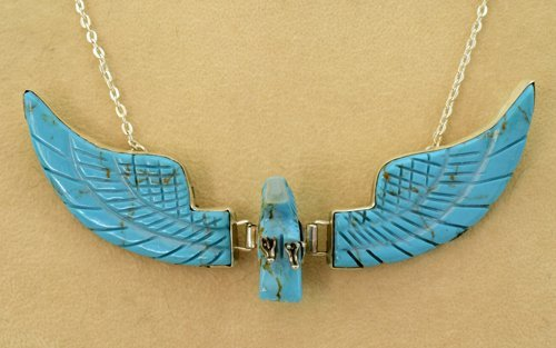 Navajo Sterling Turquoise Eagle Pendant Necklace