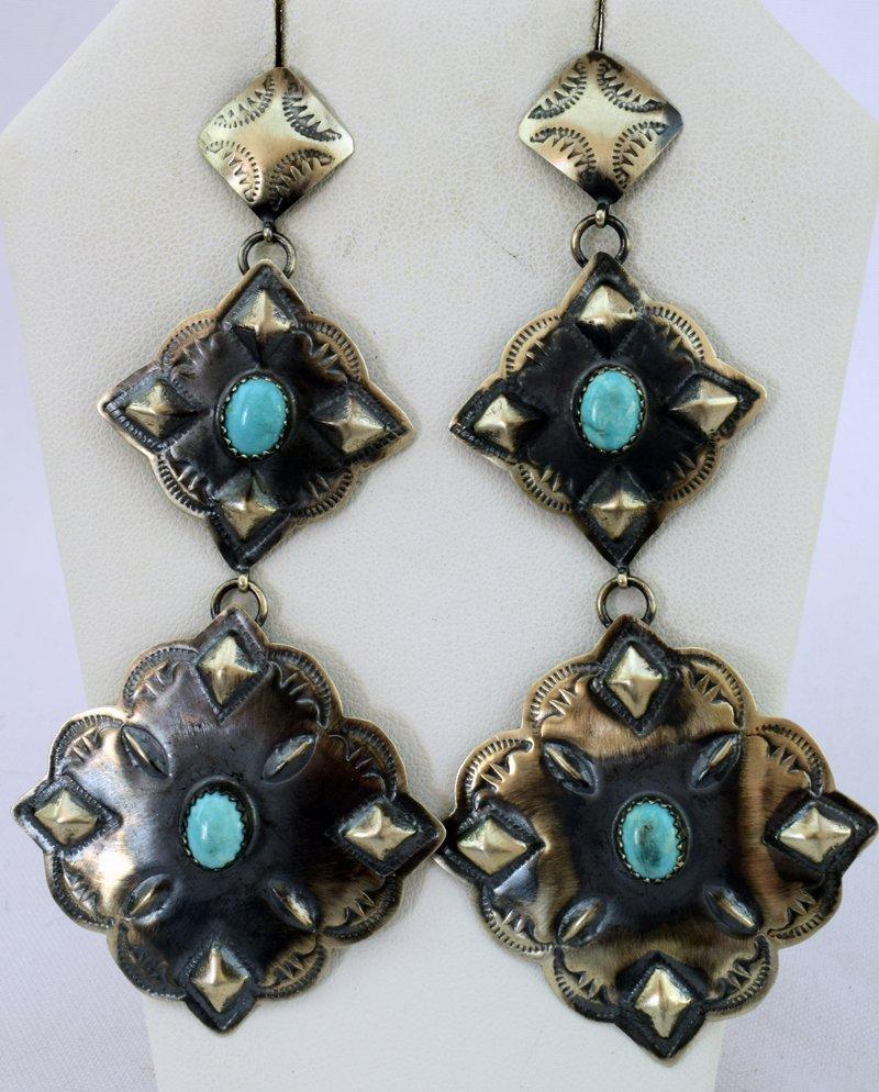 Navajo Sterling Long Dangle Concho Earrings