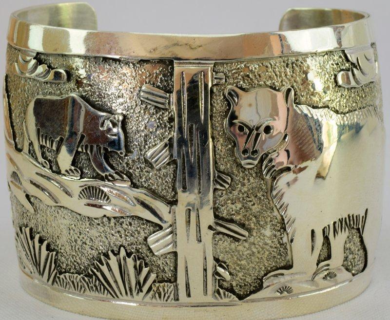 Navajo Sterling Storyteller Cuff Bracelet - Bobcat