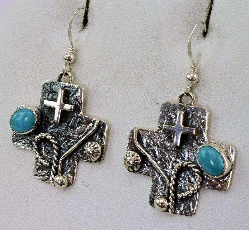 Navajo Sterling Silver Cowboy Cross Earrings