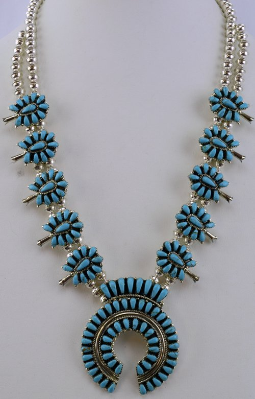 Navajo Sterling Turquoise Squash Blossom Necklace Set