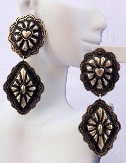 Navajo Sterling Silver Long Dangle Concho Earrings