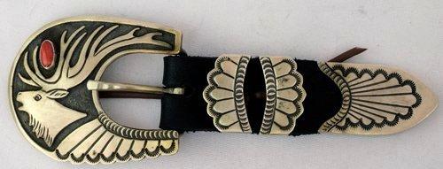Sterling Native American Coral Ranger Belt Set 4 pc.