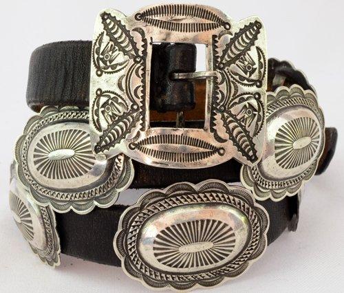 Navajo Old Pawn Sterling Vintage Concho Belt