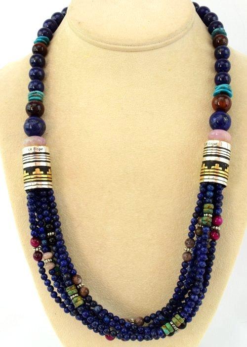 Navajo Multi-Stone 8 Strand Lapis Necklace-T & R Singer