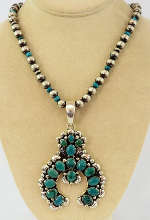 Navajo Sterling Nevada Green Turquoise Naja Necklace