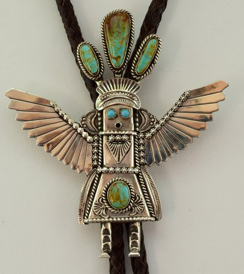Native American Large Kachina Bolo Tie w/Turquoise